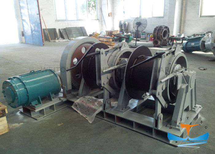 Light Weight Drum Winches For Boats , Ship Mooring Winch Excellent Stability