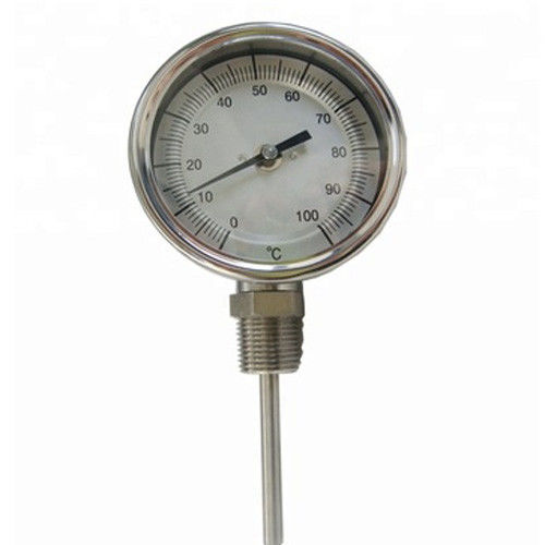0 - 100C WSS Axial Bottom Industrial Bimetal Thermometer Dial Size 100mm